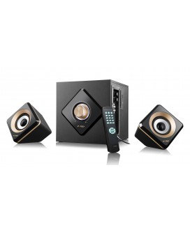 Sistem audio W330xX 2.1 F&D, Bluetooth, Cititor Card SD si USB, MP3/ WMA player, 56 W RMS